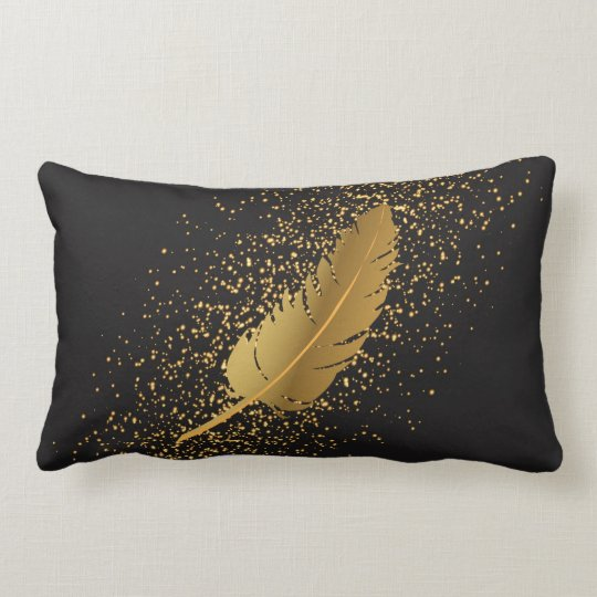 Gold Feather on Black with Gold Speckles Lumbar Pillow