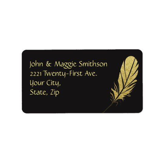 Gold Feather Quill Writers Art Black Address Address Label