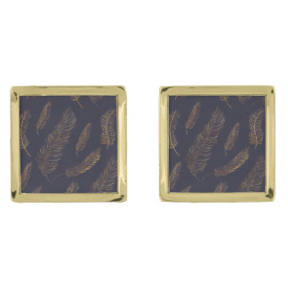 Gold Feather Themed Gold Finish Cufflinks