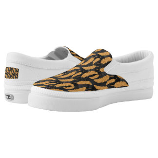 Gold Feathers Slip-On Shoes