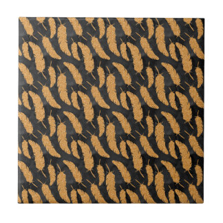Gold Feathers Tile