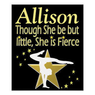 GOLD FIERCE GYMNAST PERSONALIZED POSTER