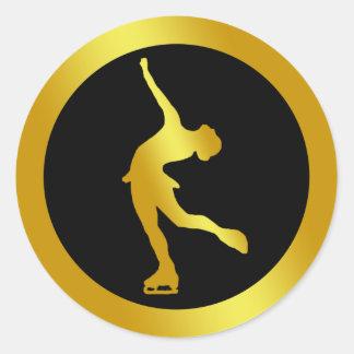 GOLD FIGURE SKATER ROUND STICKER