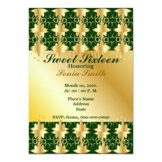 Gold Filigree Extravaganza Sweet Sixteen -Cust, 13 Cm X 18 Cm Invitation Card
