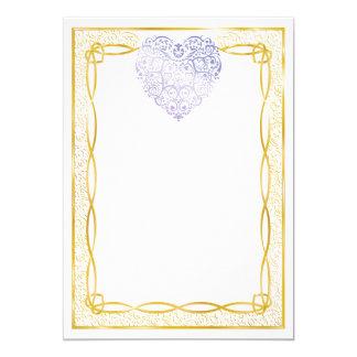 "Gold Filigree & Lavender Hearts Blank Valentine 5"" X 7"" Invitation Card"