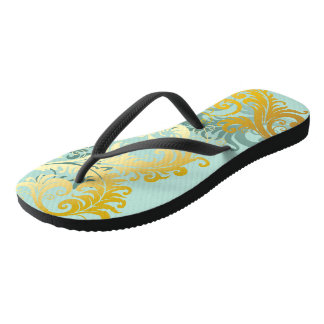 Gold Filigree on Sea Foam Green Flip Flops Thongs
