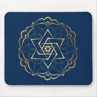 Gold filigree Star of David Mouse Pad