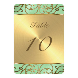 Gold Filigree Swirls Table Number Card