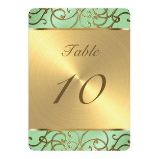 Gold Filigree Swirls Table Number 5x7 Paper Invitation Card