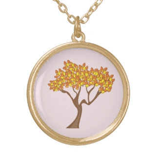 Gold Finish Autumn Tree Necklace