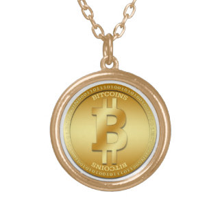 Gold Finish Bitcoin Round Necklace  eZaZZleMan.com