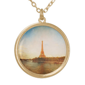 Gold Finish Eiffel Tower Photo Necklace