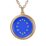 Gold finish Necklace Europe flag