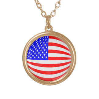 Gold finish Necklace USA American flag