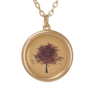 Gold Finish Plum Tree Necklace