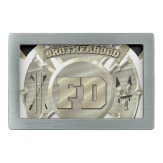 Gold Firefighter Brotherhood Symbol Rectangular Belt Buckle