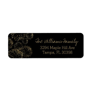 Gold Fireworks Address Label