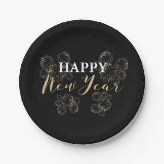 Gold Fireworks Happy New Year Paper Plate