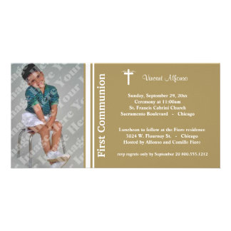 Gold First Communion Photo Invitation Photo Card