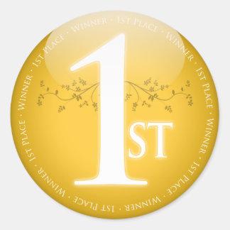 Gold First Place (1st) Award Round Sticker