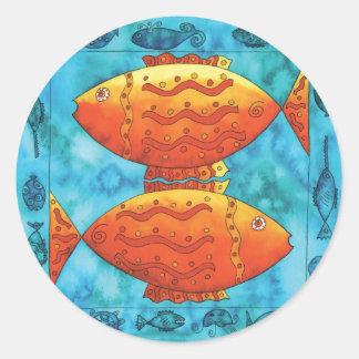 Gold Fish in Blue Ocean Classic Round Sticker