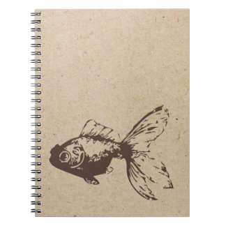 gold fish ink stamped journal spiral note book