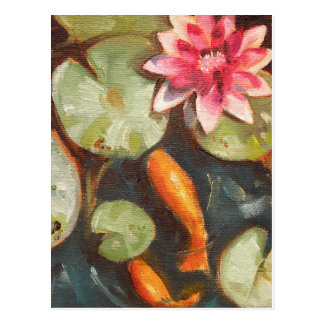 Gold Fish Koi Pond Water Lilies Post Cards