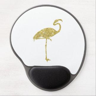 Gold Flamingo Faux Glitter Flamingos Tropical Bird Gel Mouse Pad