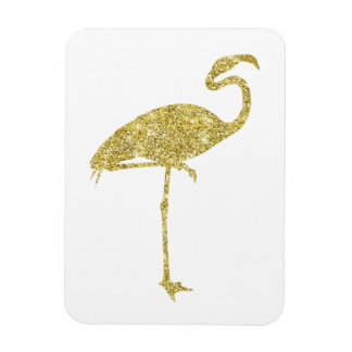 Gold Flamingo Faux Glitter Flamingos Tropical Bird Magnet