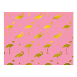 Gold Flamingo Faux Metallic Foil Tropical Flamingo Postcard
