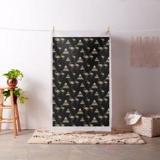 Gold Flamingo Pyramids  Pattern Black Fabric