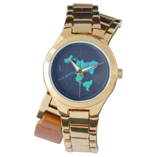 Gold Flat Earth map Watch