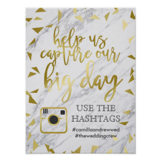 Gold Flecks & Marble Wedding Hashtag Poster