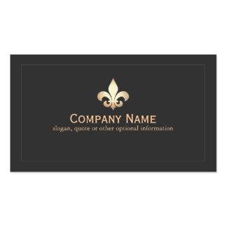 Gold Fleur De Lis Black Business Card
