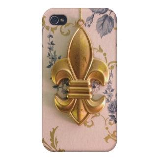 Gold fleur-de-lis blue damask vintage pattern iPhone 4 cases
