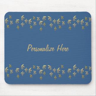 Gold Fleur de Lis Confetti on Blue Mousepads