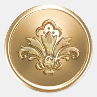 Gold Fleur de Lis Envelope Seal Round Sticker