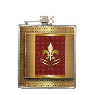 Gold Fleur De Lis Hip Flask