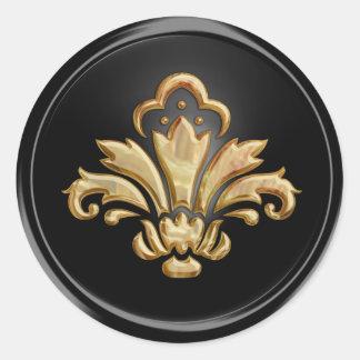 Gold Fleur de Lis on Black  Envelope Seal Round Sticker