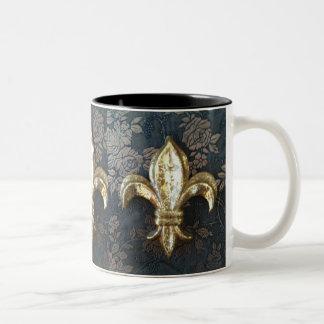 Gold Fleur de lis on Floral Print Mug