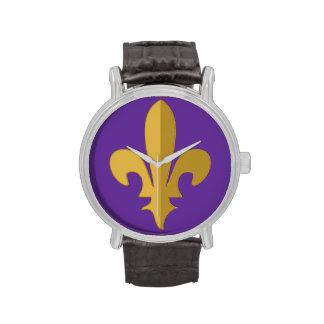 Gold fleur de lis on purple vintage strap watch