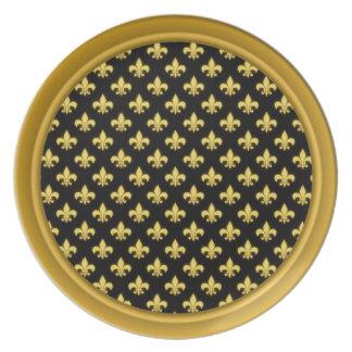 Gold Fleur De Lis Pattern | New Orleans Mardi Gras Plate