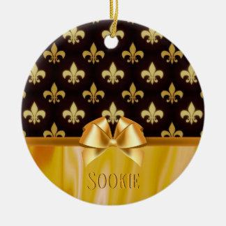 Gold Fleur de Lis Pattern New Orleans Personalized Ceramic Ornament