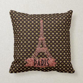 Gold Fleur De Lis Pattern Pink Eiffel Tower Paris Cushion