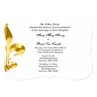 Gold Fleur de Lis Wedding Invitation