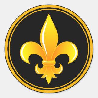 Gold Fleur De Lis with outter rim Classic Round Sticker
