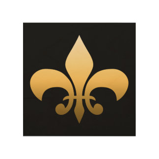 Gold Fleur de Lis Wood Wall Art