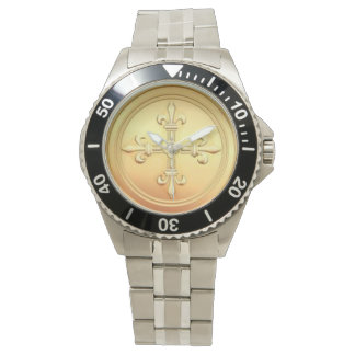 Gold Fleur-de-Lys Cross Stainless Steel Watch