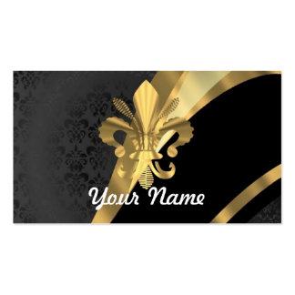 Gold fleur de lys on black pack of standard business cards