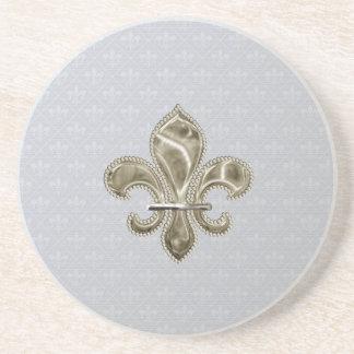 Gold Fleur de Lys Pattern Sandstone Coaster
